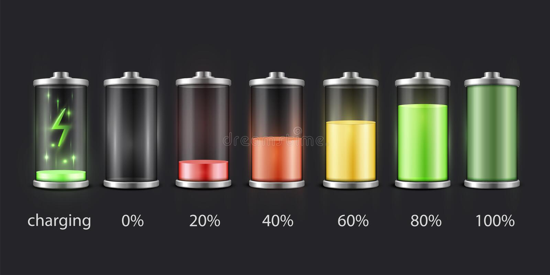 电池充电状态集合,累加器显示图象 库存例证
