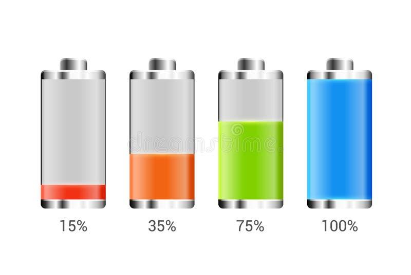 电池充电设计 手机的充分的充电能量 累加器显示功率电平传染媒介象  库存例证