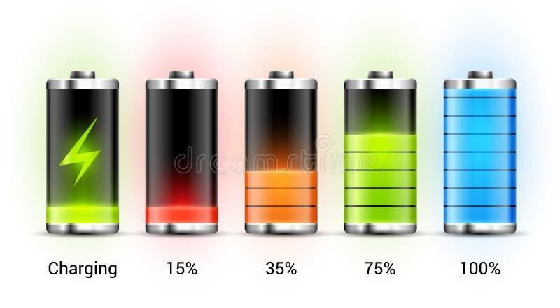 电池充电设计 手机的充分的充电能量 累加器显示功率电平传染媒介象  皇族释放例证