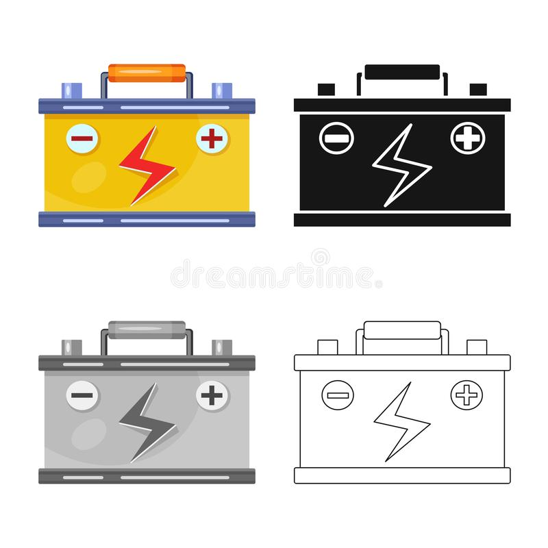 电池和累加器标志被隔绝的对象  设置电池和汽车股票传染媒介例证 向量例证
