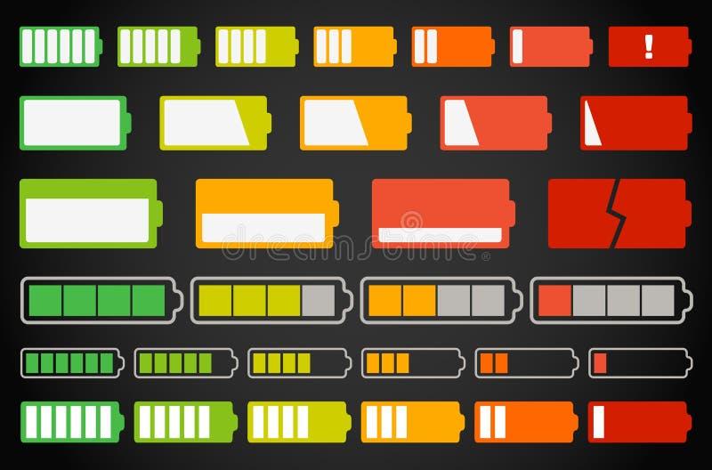 电池收集不同的指示符 向量例证