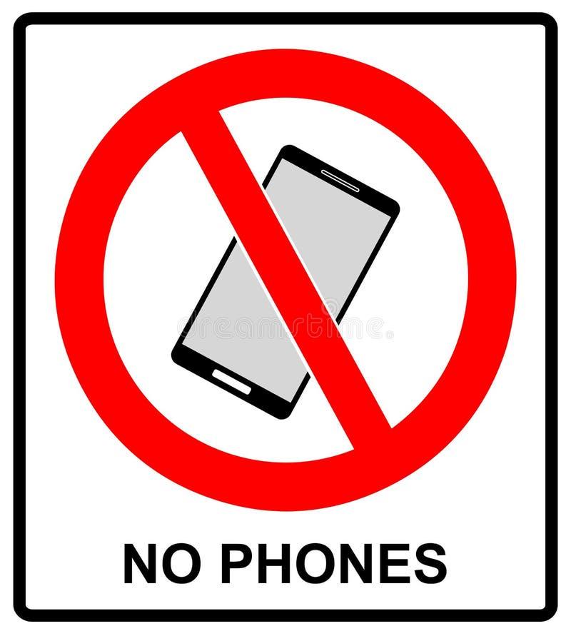 电池没有电话符号 手机枪手容量喑哑标志 没有智能手机允许的象 在白色的没有叫的标签 向量例证