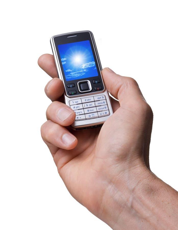 电池现有量电话照片 库存图片