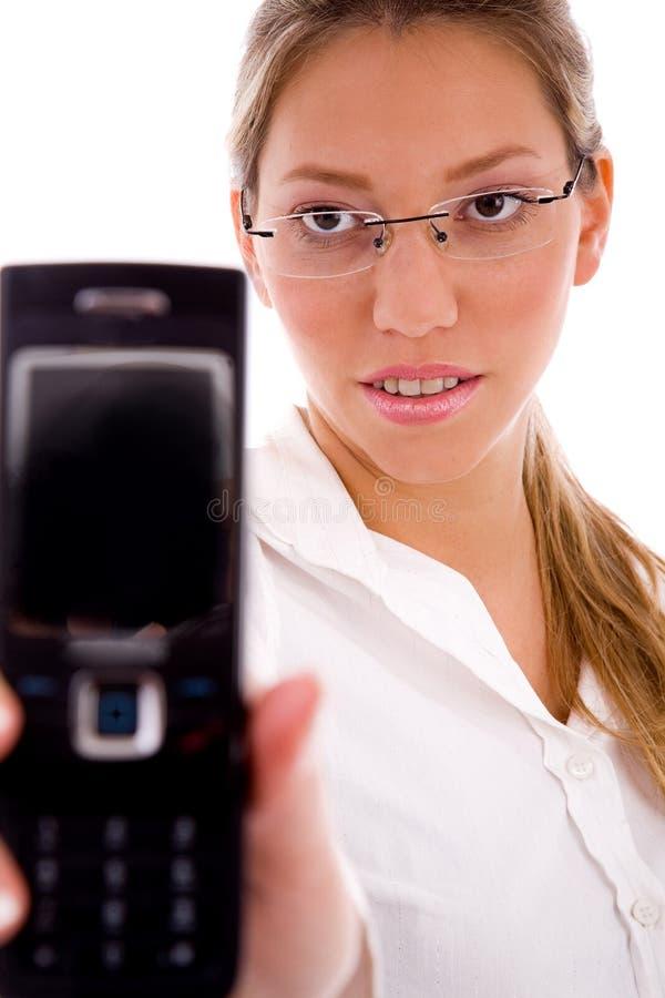 电池经理电话纵向陈列 免版税库存图片