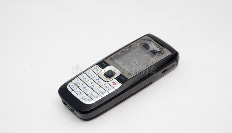 电池老电话 免版税库存图片