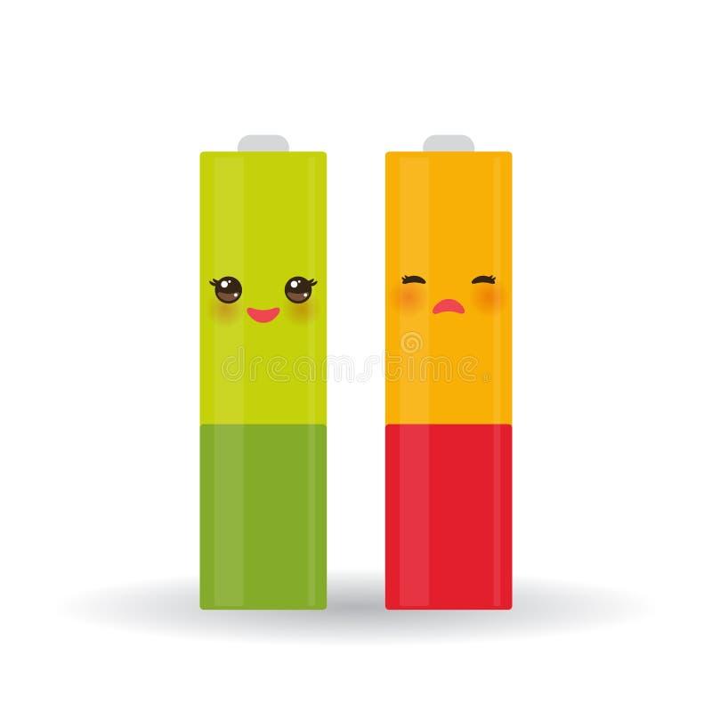 电池象设置了与充分和低收费状态能级,隔绝在白色背景 向量 库存例证