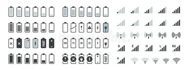 电池象 黑充电水平gsm和wifi信号强度,智能手机UI元素集 导航充分低和空 库存例证