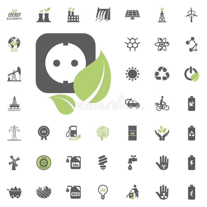 电源插座象 Eco和可选择能源传染媒介象集合 能源电电力资源集合传染媒介 皇族释放例证