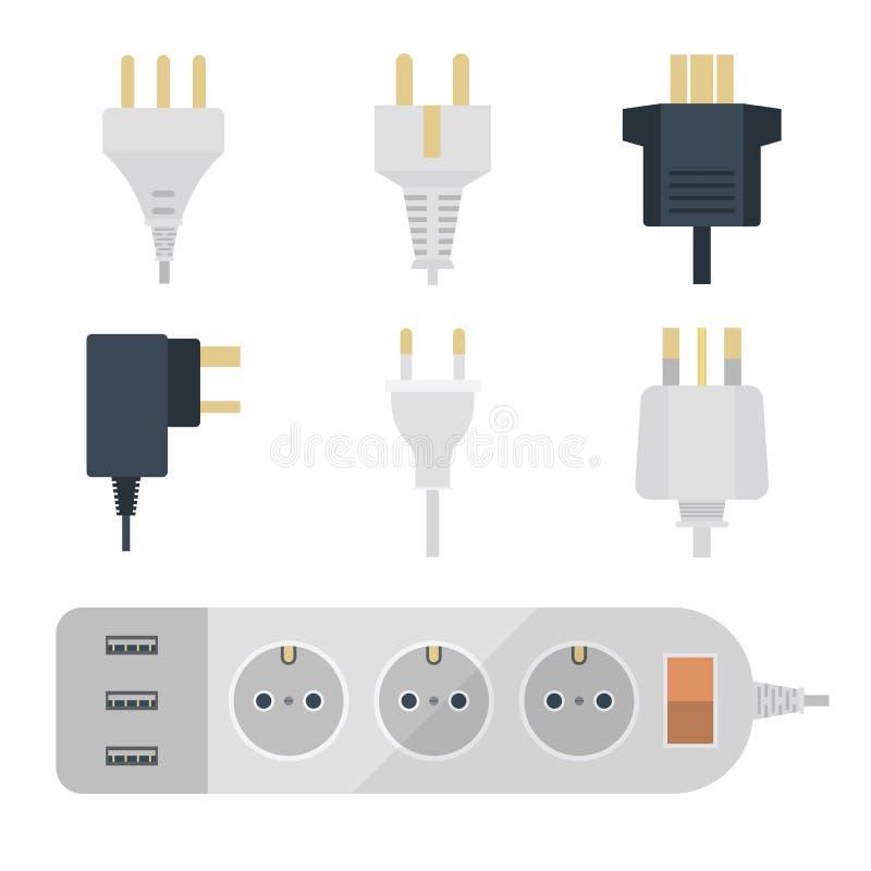 电火花塞堆积出口例证能量插口电子出口插座欧洲人和美国,亚洲装置 向量例证