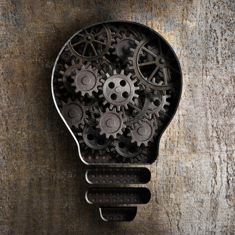 电灯泡与工作齿轮和嵌齿轮的企业概念 库存例证