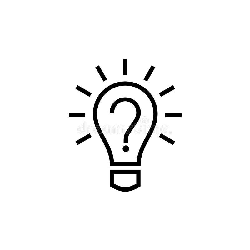 电灯泡与里面问号的灯象 向量例证