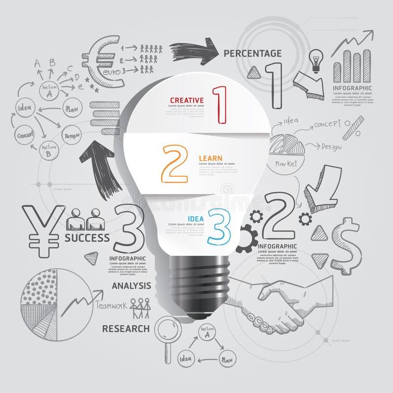 电灯泡乱画线描成功战略计划想法 库存例证