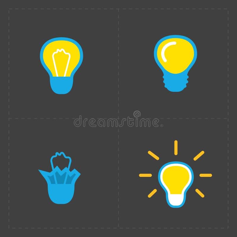 电灯泡五颜六色的光 电灯泡象集合 库存例证