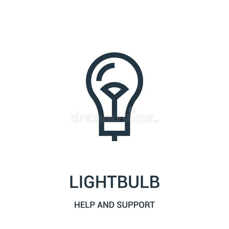 电灯泡从帮助和支持汇集的象传染媒介 稀薄的线电灯泡概述象传染媒介例证 线性标志为 向量例证