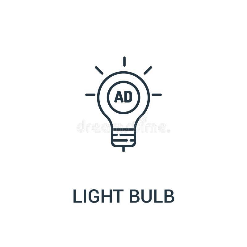 电灯泡从广告汇集的象传染媒介 稀薄的线电灯泡概述象传染媒介例证 r 库存例证