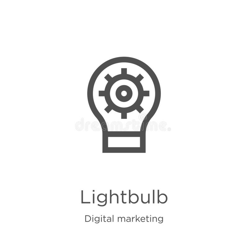 电灯泡从数字销售的收藏的象传染媒介 稀薄的线电灯泡概述象传染媒介例证 概述,稀薄的线 库存例证
