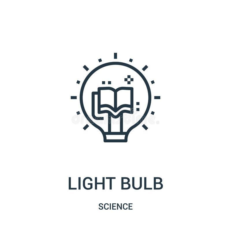 电灯泡从科学汇集的象传染媒介 稀薄的线电灯泡概述象传染媒介例证 线性标志为使用 库存例证