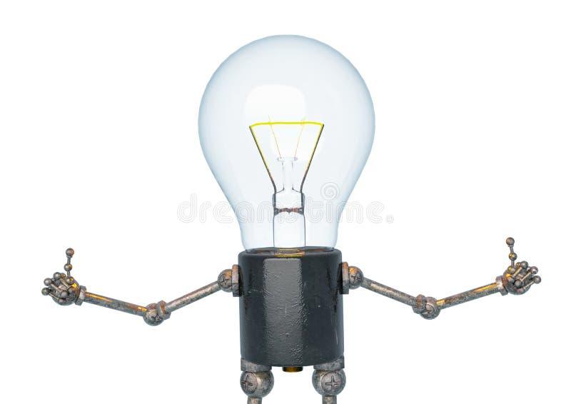 电灯泡做在一白色bacground的光字符赞许姿势 皇族释放例证