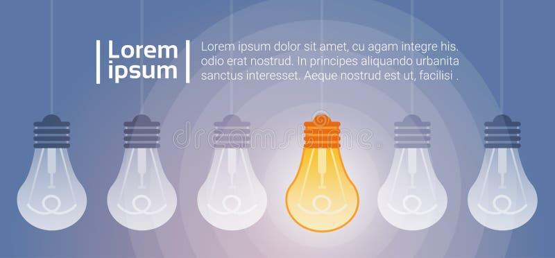 电灯泡光亮的新的创造性的想法企业概念 库存例证