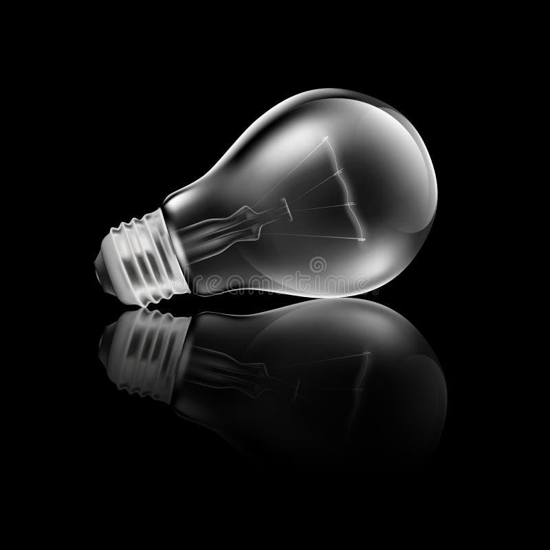 电灯泡光可实现的反映 库存例证
