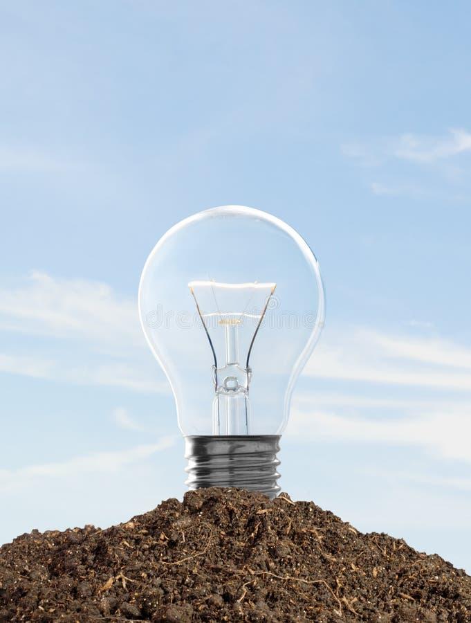 电灯泡光土壤 免版税库存照片