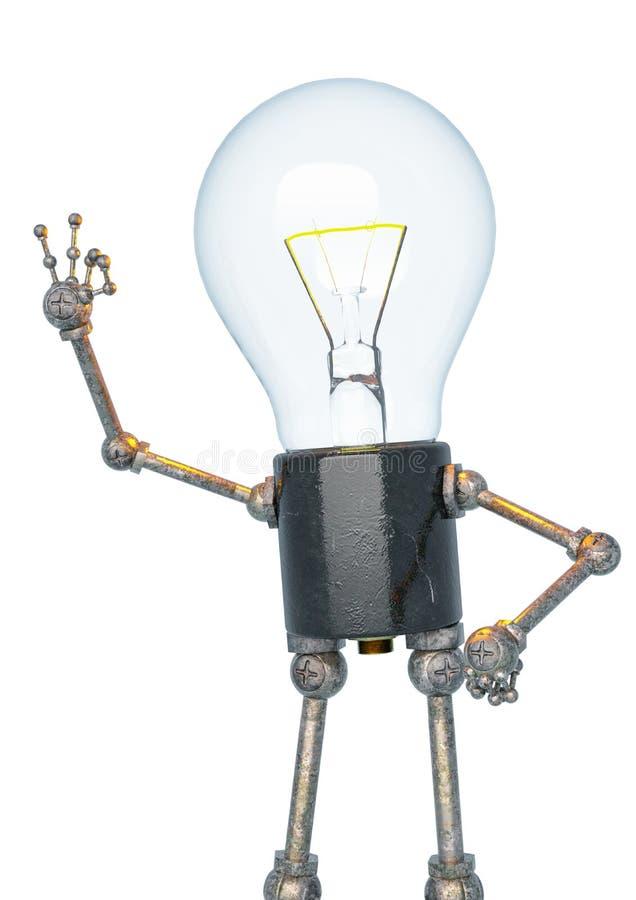 电灯泡光字符是好的在一白色bacground 向量例证