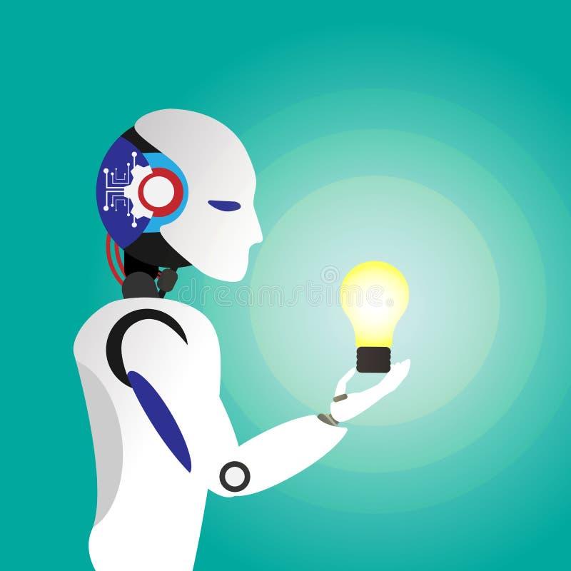 电灯泡光想法在机器人手上 新的想法、变动、趋向、勇气、创造性的解答、创新和独特的方式co 库存例证