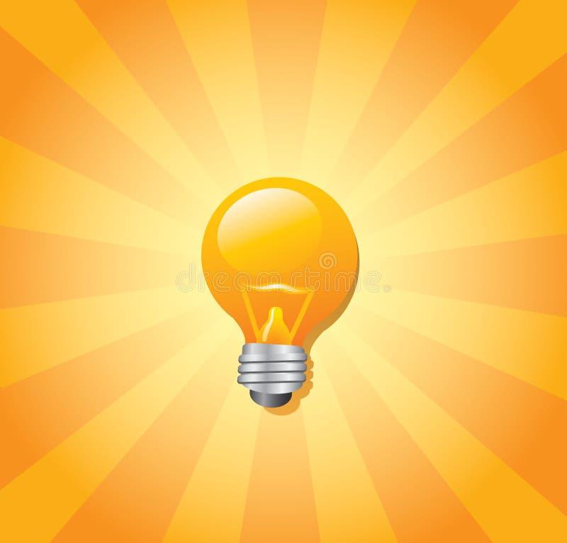 电灯泡光旭日形首饰 向量例证
