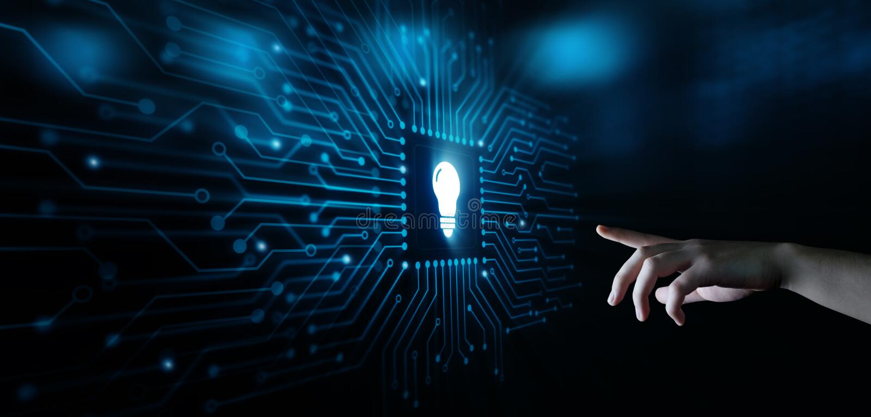 电灯泡创新解答企业技术概念 库存图片