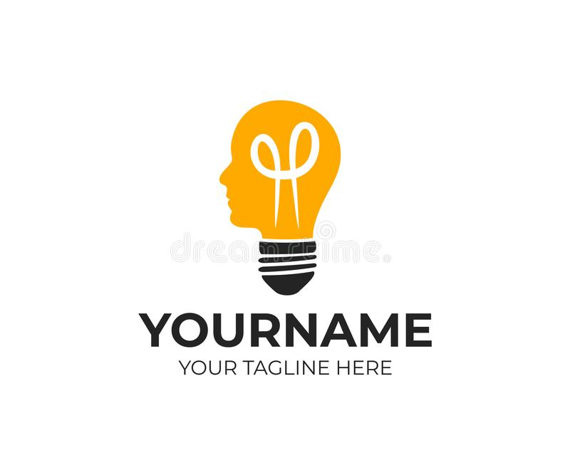 电灯泡和头、创造性的头脑和想法,商标模板 想法的人、电灯和照明设备,传染媒介设计 库存例证