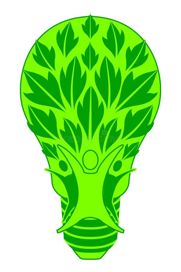 电灯泡和家庭绿色树, 皇族释放例证