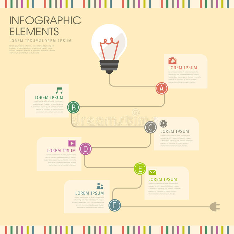 电灯泡和导线infographics设计 皇族释放例证