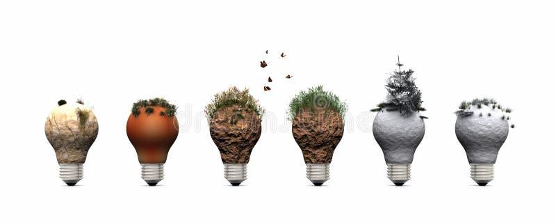 电灯泡和生态系 库存照片