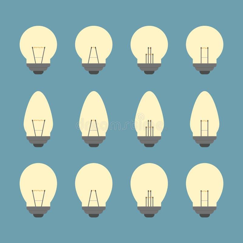 电灯泡和电灯泡象集合  库存例证