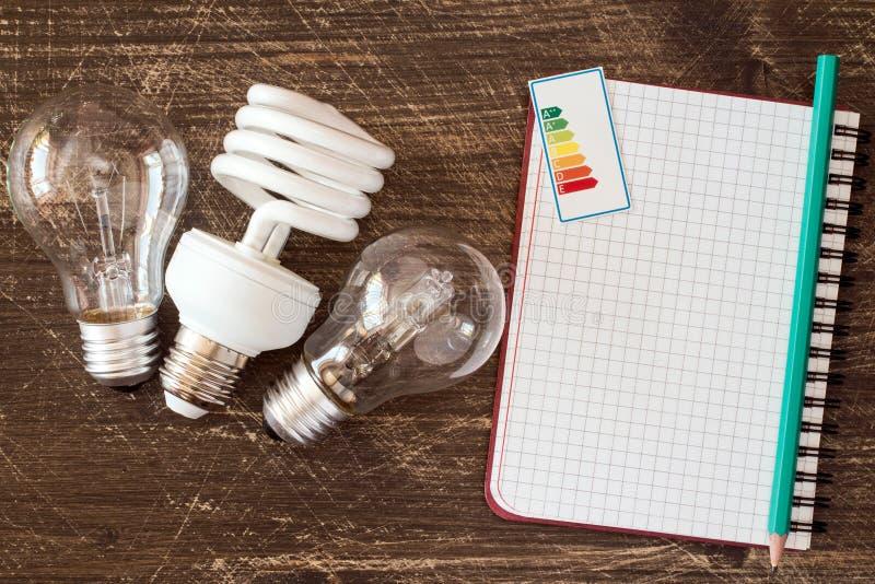 电灯泡和笔记本有节能标签的 库存图片