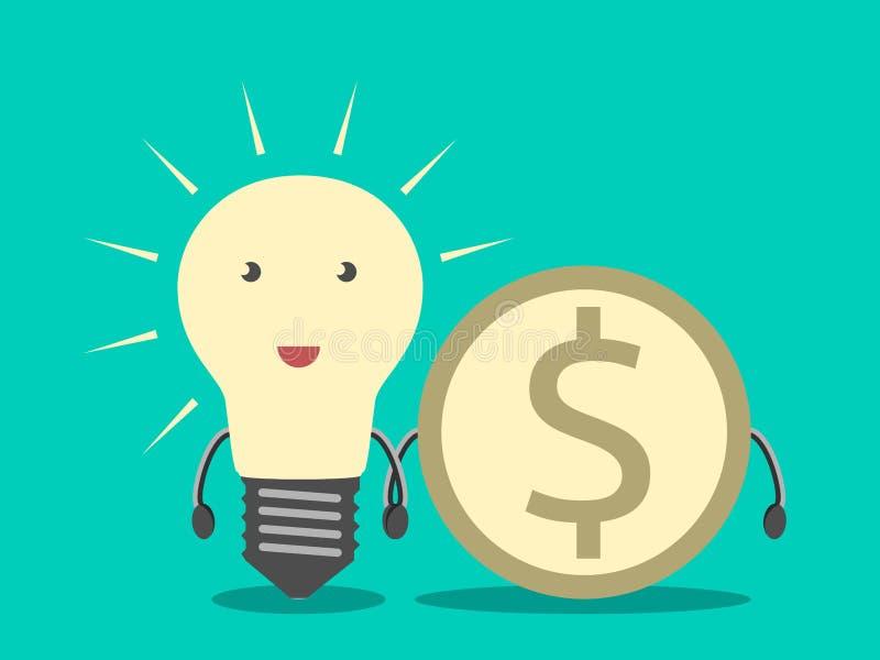 电灯泡和美元硬币 向量例证