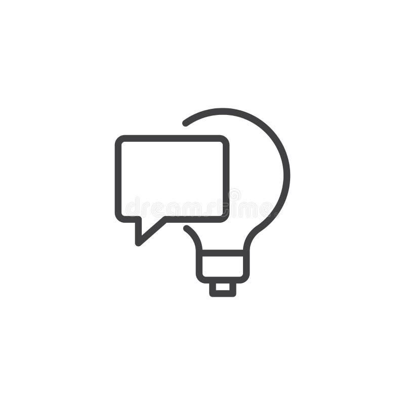电灯泡和讲话泡影概述象 库存例证