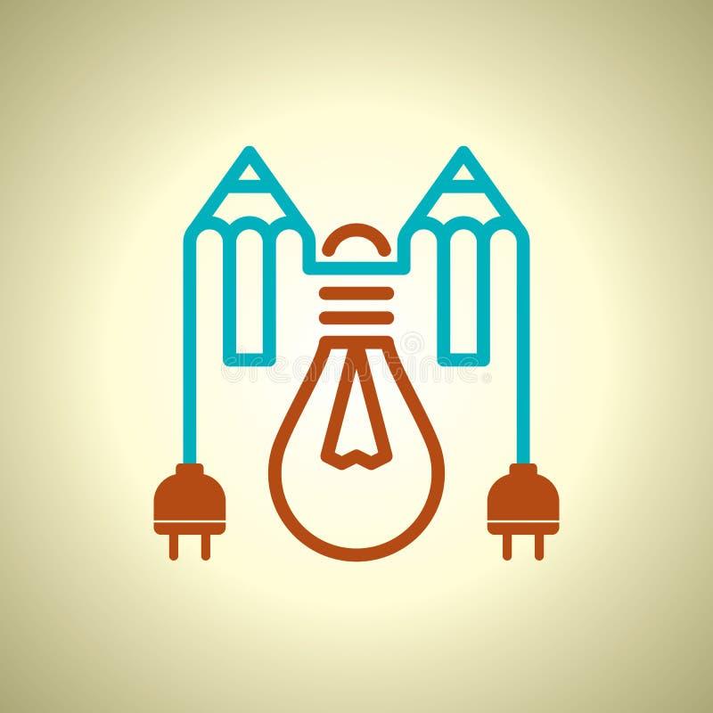电灯泡和铅笔,想法概念 向量例证