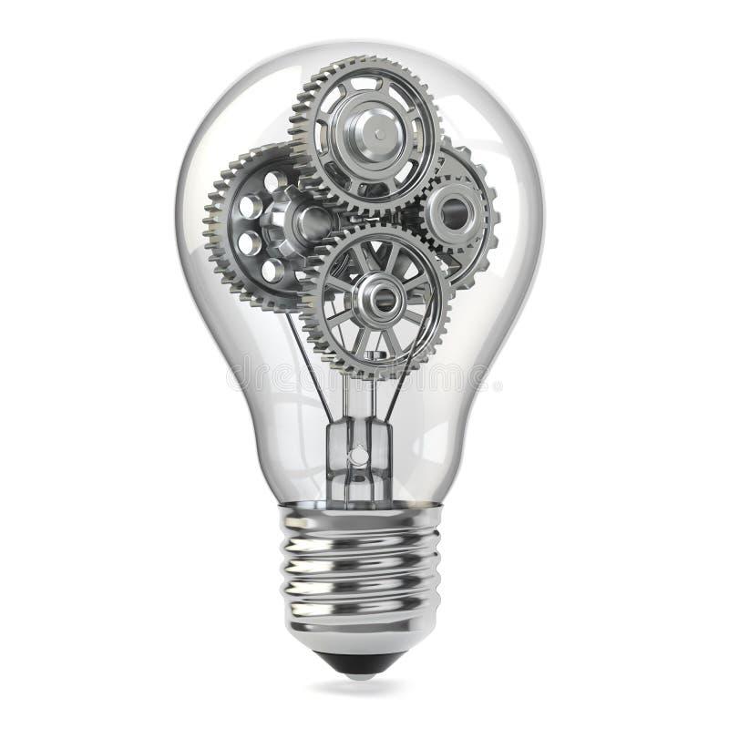 电灯泡和齿轮。Perpetuum流动想法概念。 库存例证