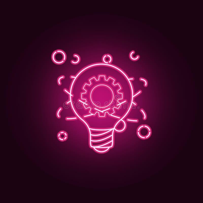 电灯泡和齿轮原子霓虹象 想法集合的元素 r 皇族释放例证