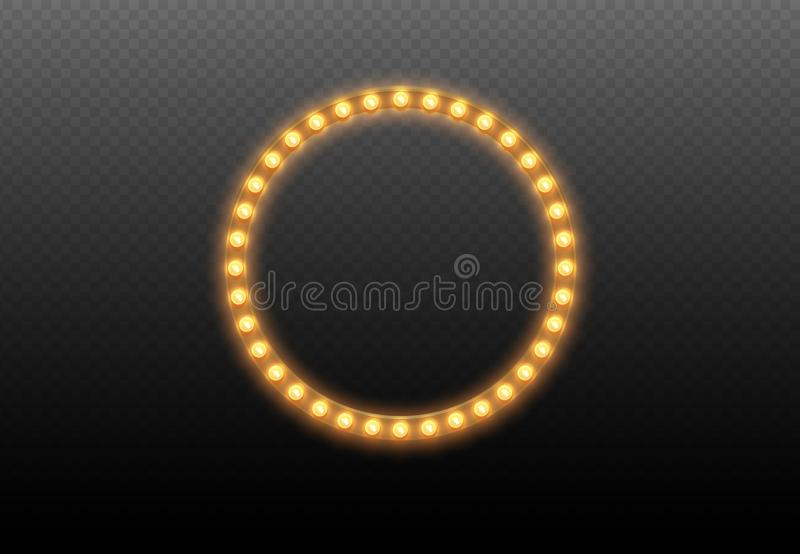 电灯泡圈子 在透明背景的圆的光框架 照亮围绕与被隔绝的灯的现实赌博娱乐场横幅 向量例证