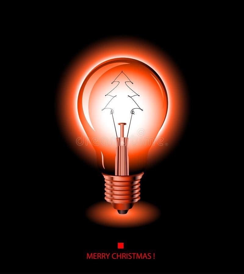 电灯泡圣诞节浅红色的结构树 皇族释放例证
