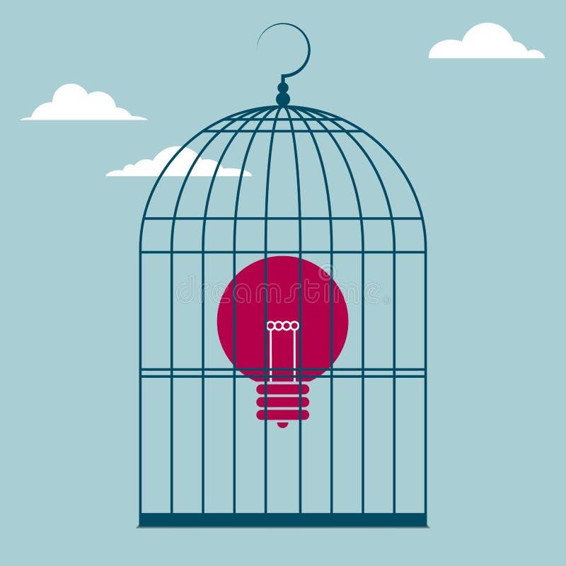电灯泡在鸟笼 库存例证