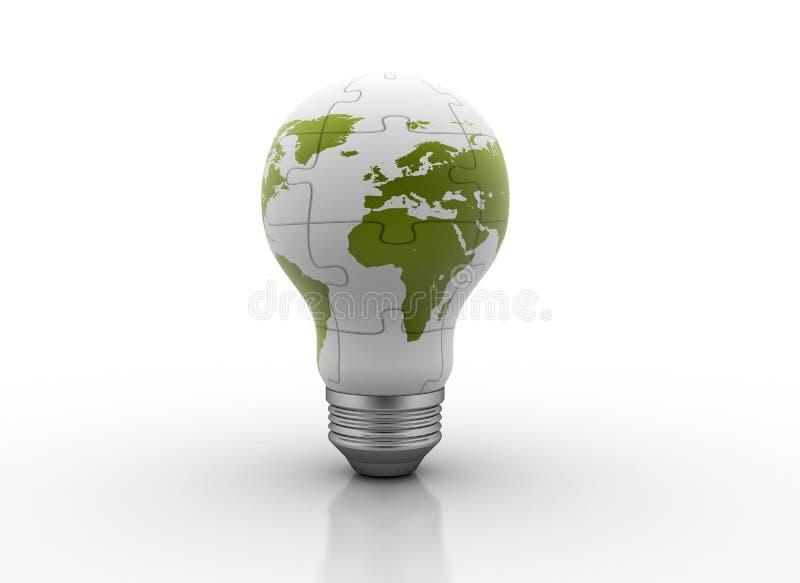 电灯泡地球光映射 库存例证