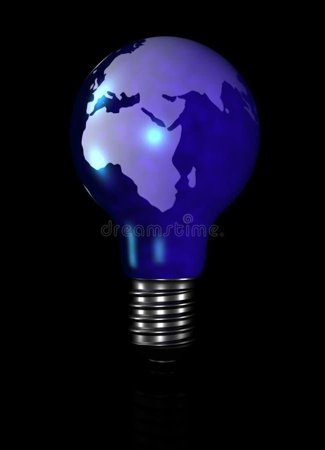 电灯泡地球光 库存例证