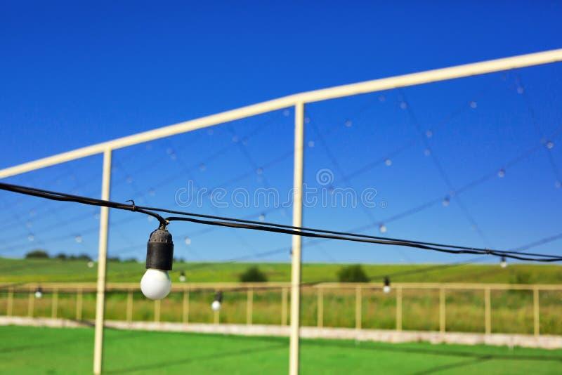 电灯泡垂悬在行的,天空蔚蓝,绿色草坪 库存图片