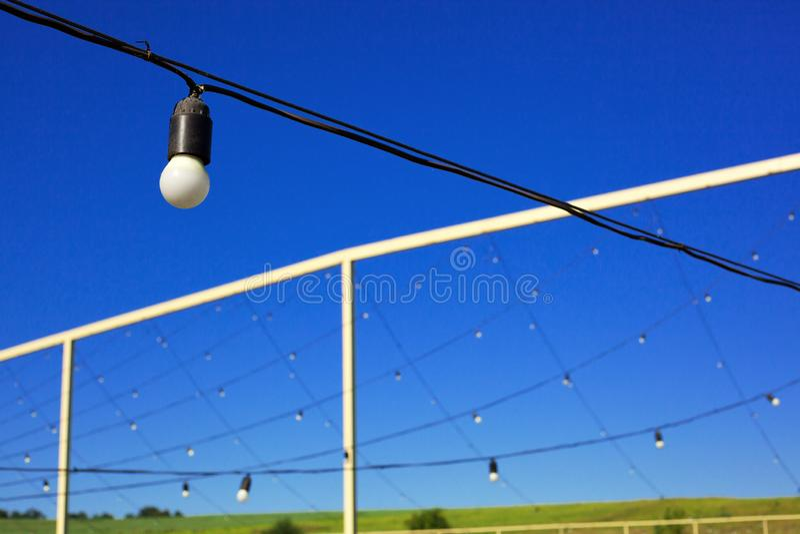 电灯泡垂悬在行的,天空蔚蓝,绿色草坪 免版税库存照片