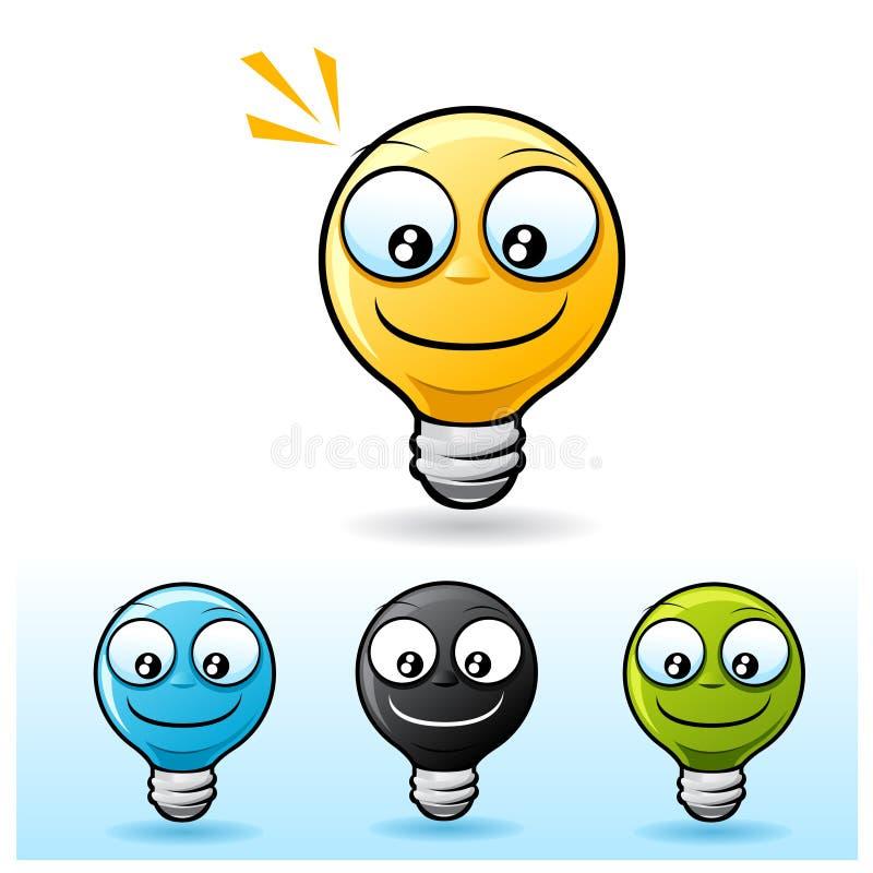 电灯泡字符光微笑 皇族释放例证