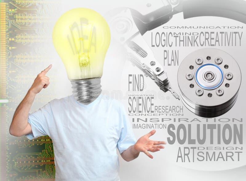 电灯泡富创意的人 免版税图库摄影