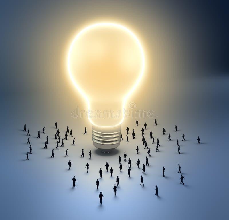 电灯泡微小光的人 库存例证